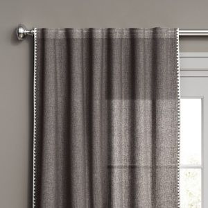 Stitched Edge Light Filtering Curtain Panel Gray